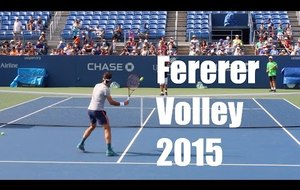FEDERER s'entraine à la volley (US Open 2015)